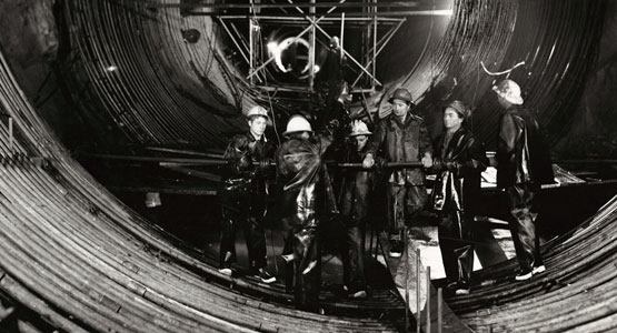 Snowy Hydro workers in a cylinder