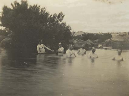 Senators bathing in the Snowy River at Dalgety
