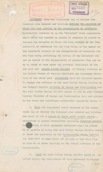 Agreement [between the Minister of State for Home Affairs, Joseph Cook, and Walter Burley Griffin] engaging Griffin as Federal Capital Director of Design and Construction