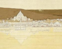 Detail from Griffin's plan for Canberra, showing the Capitol building as a stepped pyramid