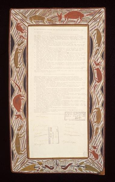 Yirrkala artists, Dhuwa moiety. Yirrkala Bark Petition 14.8.1963, 46.9 x 21 cm, natural ochres on bark, ink on paper