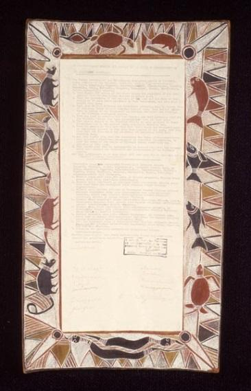 Yirrkala artists, Yirritja moiety, Yirrkala Bark Petition 28.8.1963, 46.9 x 21 cm, natural ochres on bark, ink on paper