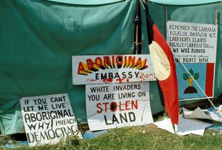 Aboriginal Tent Embassy outside Parliament House, Canberra, 1974