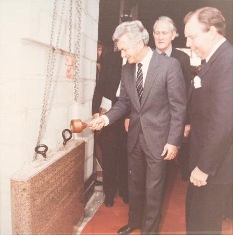 Untitled (Prime Minister Bob Hawke laying the foundation stone with mallet, Parliament House)
