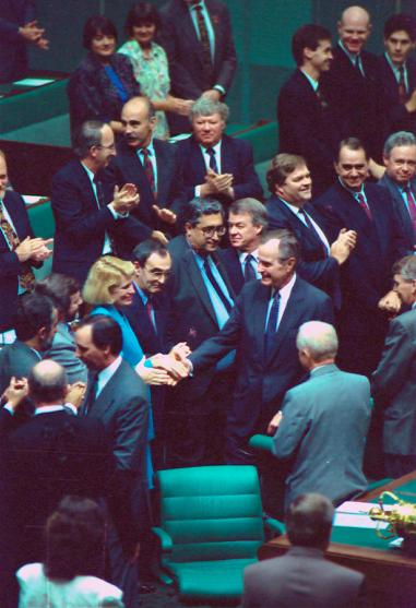 US President the Hon. George Bush meeting members of Parliament in the House of Representatives chamber, 1992
