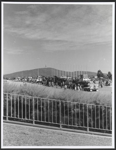 The logger blockade of Parliament House, Canberra, January 1995-some of the trucks in the forecourt