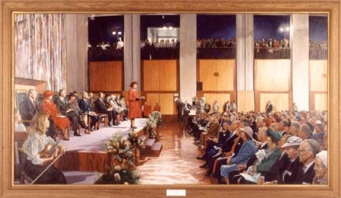 Opening of Parliament House by Her Majesty Queen Elizabeth II on 9 May 1988 (1994), by Marcus Beilby (1951)
