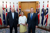 Their Majesties King Harald V and Queen Sonja of Norway with Prime Minister Tony Abbott at Parliament House