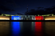 Parliament House illuminated for France