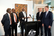 Warlpiri community representatives Harry Tjakamarra Nelson, Otto Jungarryi Sims and Robin Granites Japanangka with the President and the Speaker.