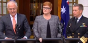 Malcolm Turnbull, Marise Payne and Chief of the Navy Vice Admiral Tim Barrett
