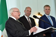 Irish President Michael Higgins with Senate President Stephen Parry and Speaker of the House of Representatives Tony Smith
