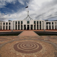 Artwork leading to the entrance of Parliament House