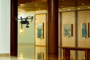 A drone flying past artwork in Members Hall
