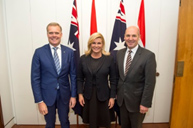 (l-r) Tony Smith (Speaker of the House of Representatives), Her Excellency, Kolinda Grabar-Kitarovic, and Stephen Parry (President of the Senate) at Parliament House