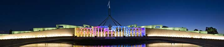 Australian Parliament House during the Enlighten Festival