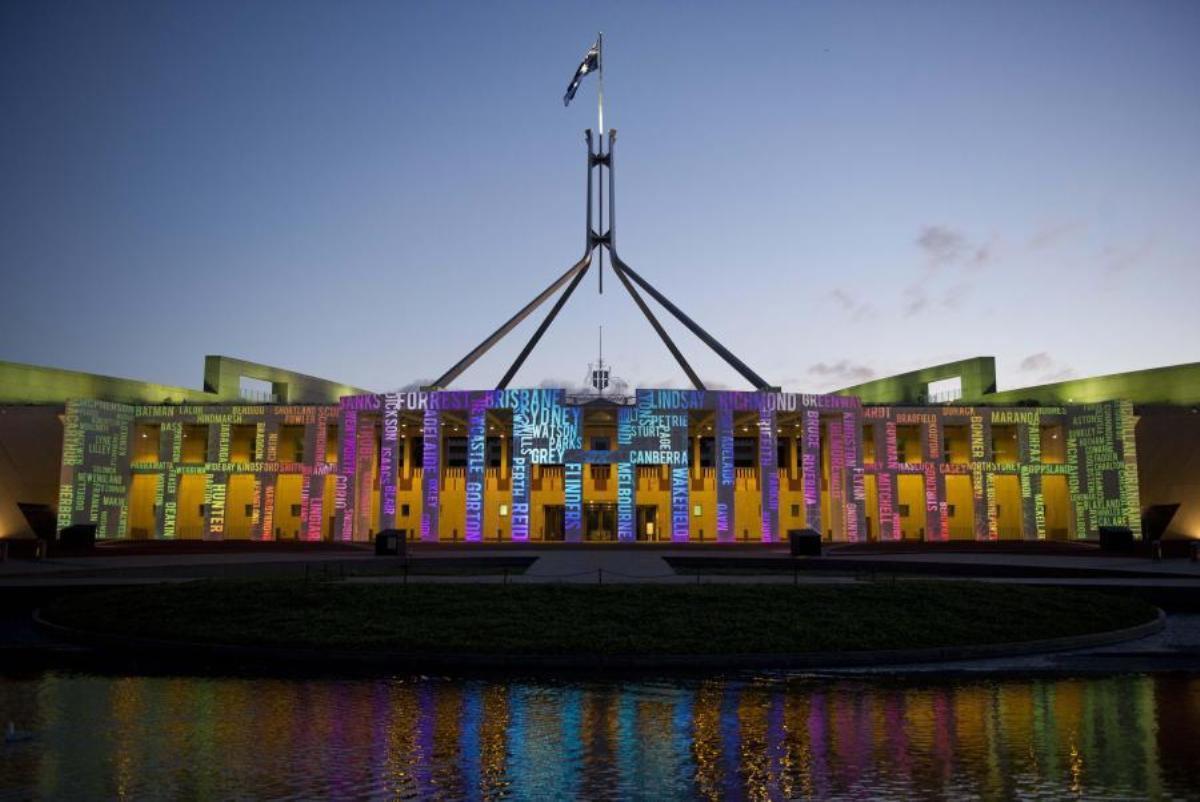 Australian Parliament House during the Enlighten Festival, 2011