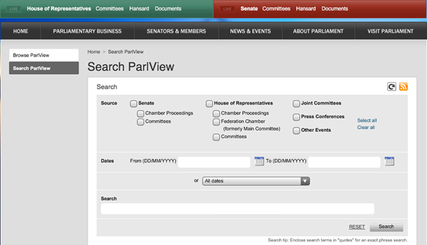 Search ParlView