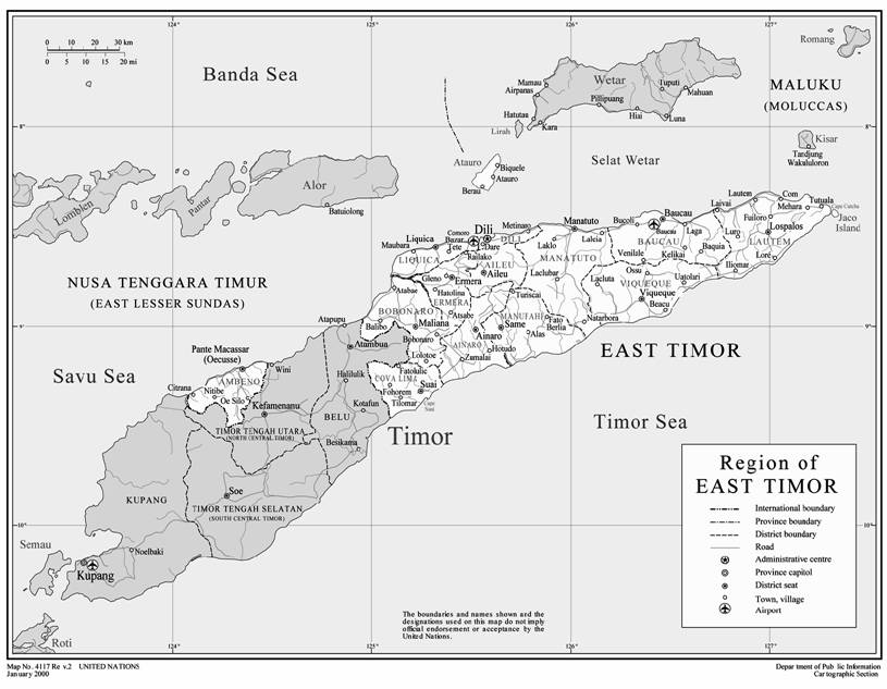 Map of East Timor region